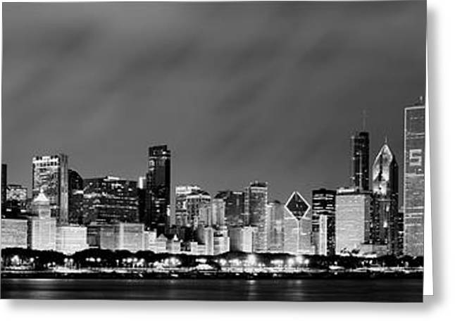 Hancock Greeting Cards - Chicago Skyline at Night in Black and White Greeting Card by Sebastian Musial