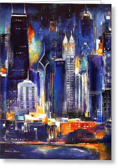 Chicago Skyline At Night Greeting Card by Kathleen Patrick