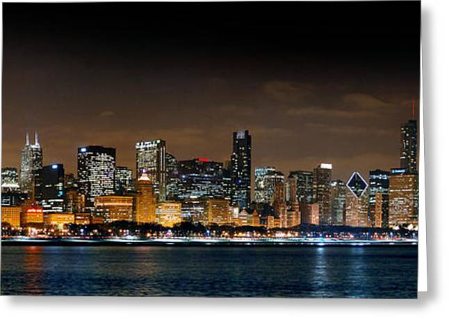Panoramic Greeting Cards - Chicago Skyline at NIGHT Panorama Color 1 to 3 Ratio Greeting Card by Jon Holiday
