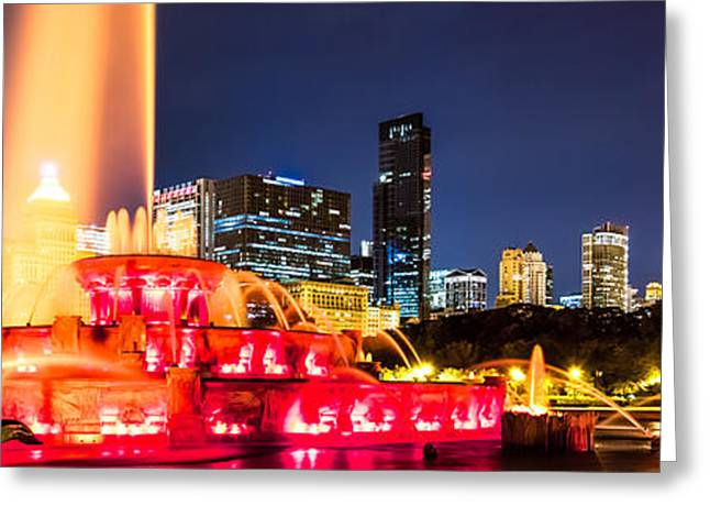 Chicago Landmark Greeting Cards - Chicago Skyline at Night Panorama Photo Greeting Card by Paul Velgos