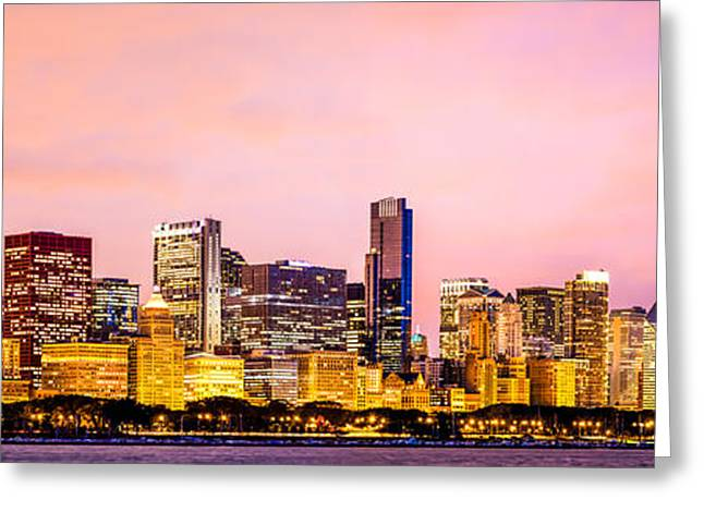 Chicago Prints Greeting Cards - Chicago Skyline at Night Panorama Picture Greeting Card by Paul Velgos