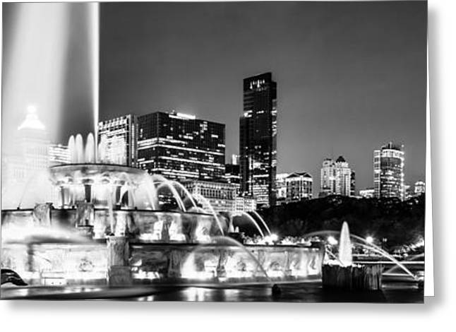 Chicago Landmark Greeting Cards - Chicago Skyline at Night Panoramic Picture Greeting Card by Paul Velgos