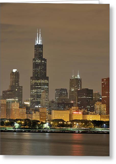 Chicago Skyline Art Greeting Cards - Chicago Skyline at Night Greeting Card by Sebastian Musial