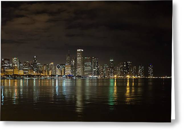 City Art Greeting Cards - Chicago Skyline at Night Greeting Card by Todd Hughes