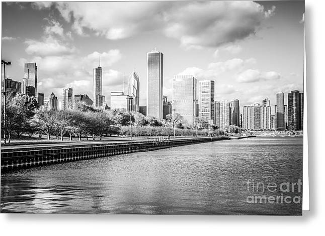 Chicago Building Greeting Cards - Chicago Skyline Black and White Photo Greeting Card by Paul Velgos