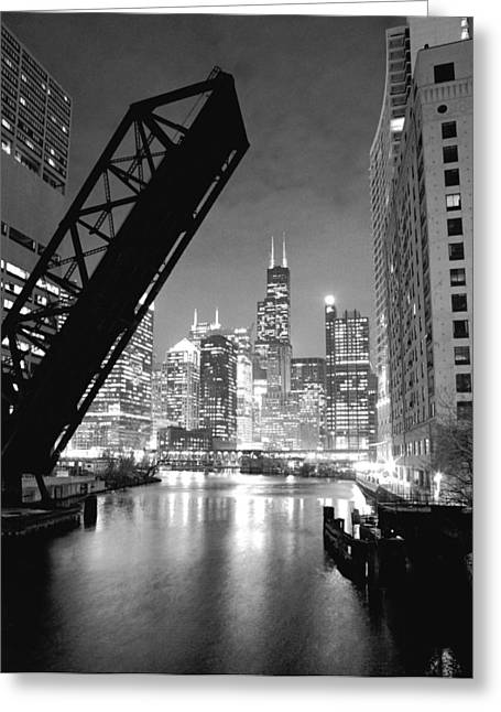 Black Greeting Cards - Chicago Skyline - Black and White Sears Tower Greeting Card by Horsch Gallery
