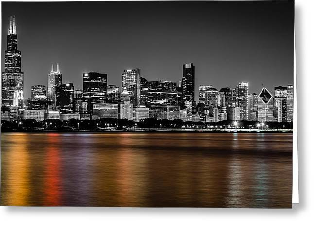 Recently Sold -  - City Lights Greeting Cards - Chicago Skyline - Black and White with Color Reflection Greeting Card by Anthony Doudt