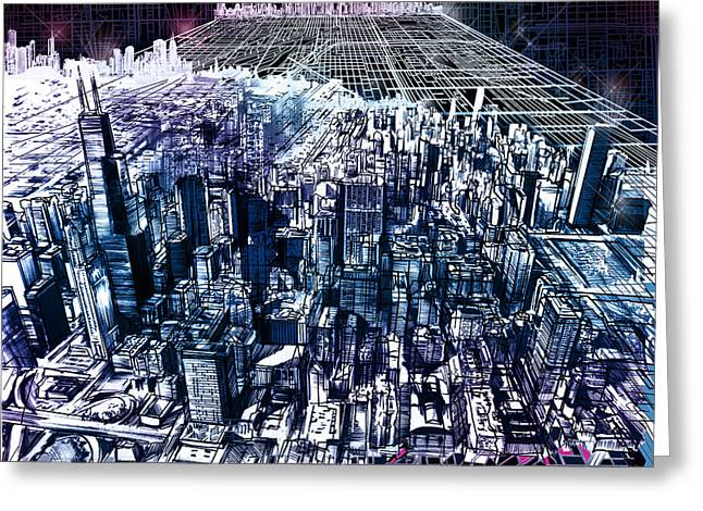 Urban Buildings Digital Greeting Cards - Chicago Skyline Black Verson Greeting Card by MB Art factory