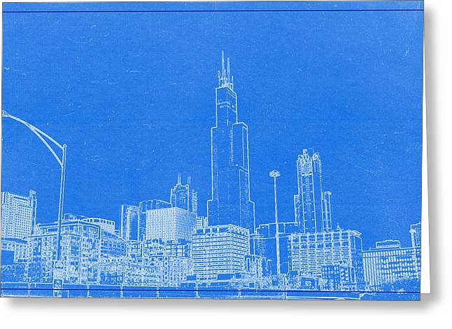 Windy City Mixed Media Greeting Cards - Chicago Skyline Blueprint Greeting Card by Celestial Images