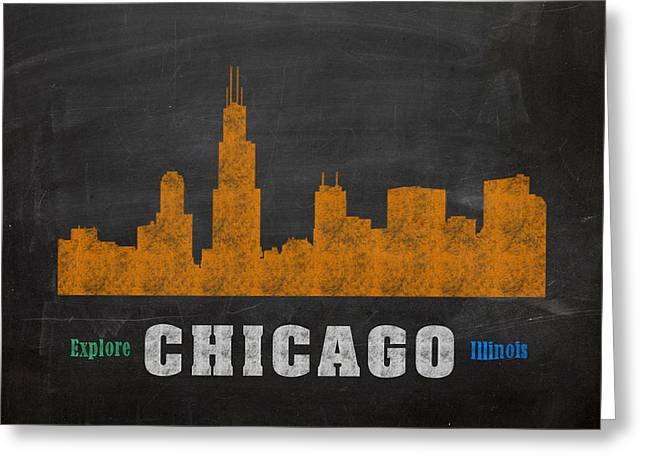 Skylines Mixed Media Greeting Cards - Chicago Skyline Chalkboard Chalk Art Greeting Card by Design Turnpike