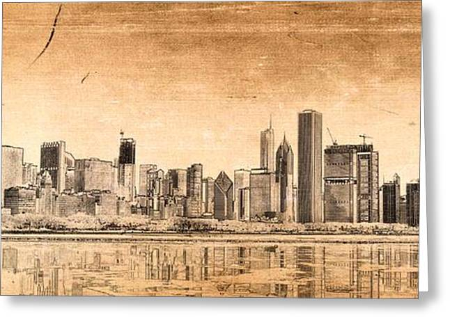 City Art Greeting Cards - Chicago skyline Greeting Card by Dejan Jovanovic