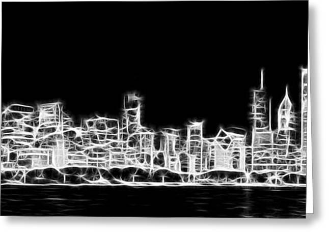 Black Man Greeting Cards - Chicago Skyline Fractal Black and White Greeting Card by Adam Romanowicz