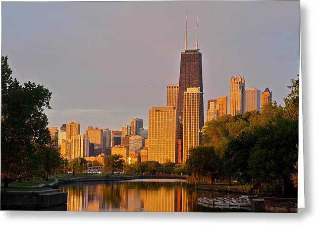 Lincoln Park Lagoon Greeting Cards - Chicago Skyline from North Greeting Card by Kris Johnsen