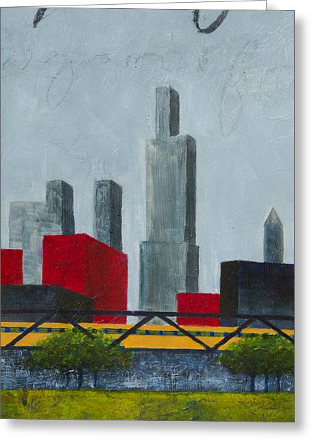 Chicago Skyline Mixed Media Greeting Cards - Chicago Skyline I Greeting Card by Sandra Neumann Wilderman