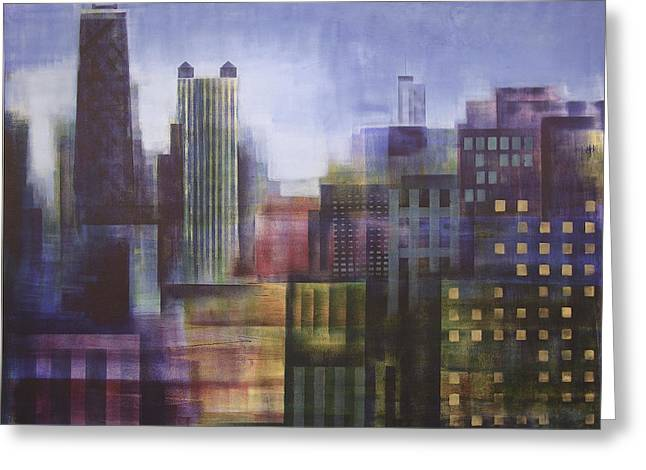 Wrigley Field At Night Greeting Cards - Chicago Skyline - In Neutral Tones Greeting Card by Joseph Catanzaro