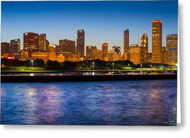 Blue Sailboats Greeting Cards - Chicago Skyline Greeting Card by Inge Johnsson