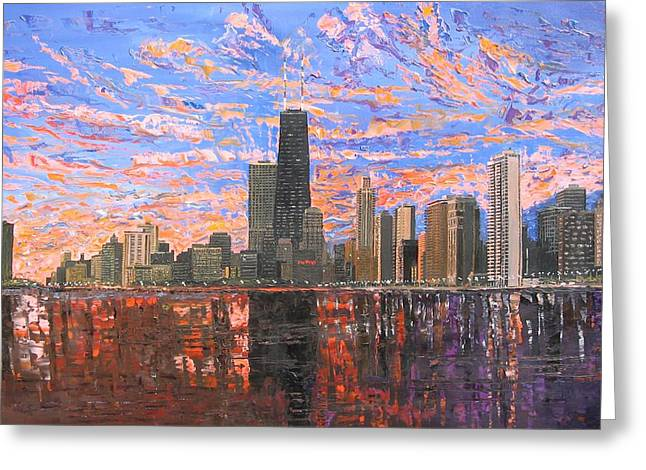 Chicago Paintings Greeting Cards - Chicago Skyline - Lake Michigan Greeting Card by Mike Rabe