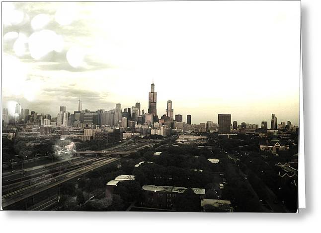 Highrise Digital Greeting Cards - Chicago Skyline Greeting Card by Mike Maher