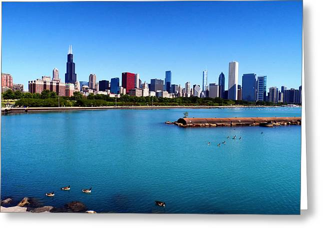 Jogging Greeting Cards - Chicago Skyline Greeting Card by Mountain Dreams