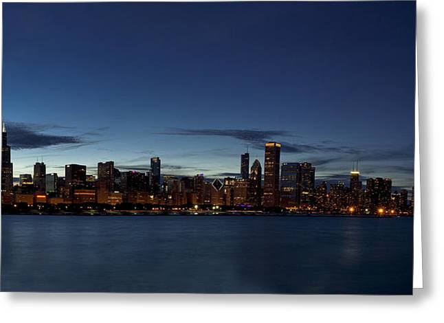 View. Chicago Greeting Cards - Chicago Skyline Panorama Greeting Card by Andrew Soundarajan