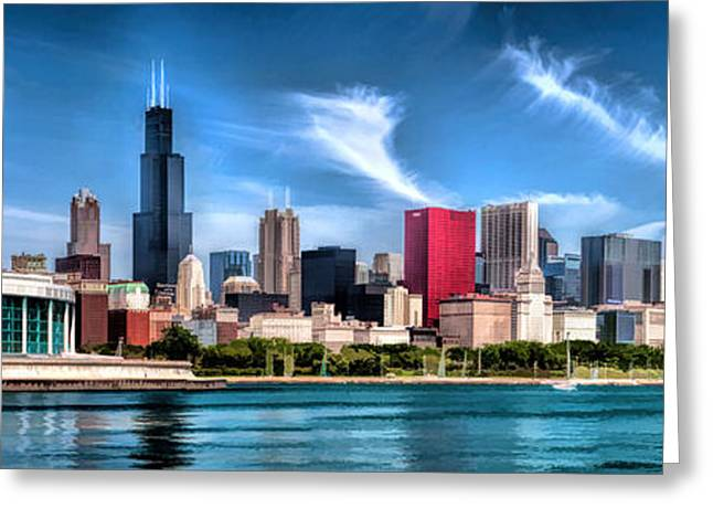 Christopher Arndt Greeting Cards - Chicago Skyline Panorama Greeting Card by Christopher Arndt