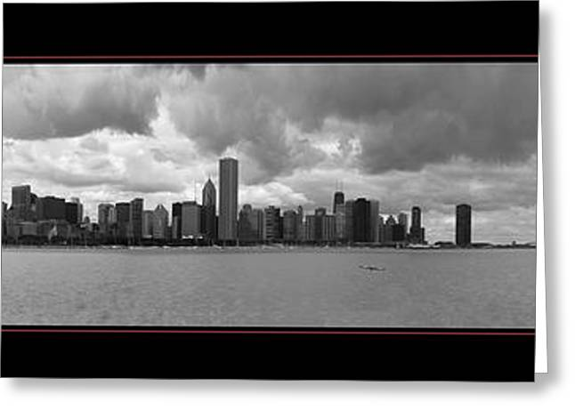 Schooner Greeting Cards - Chicago Skyline Panorama One  Greeting Card by James Strobel