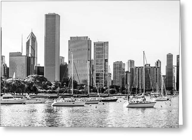 Sailboat Photos Greeting Cards - Chicago Skyline Panorama Photo at Monroe Harbor Greeting Card by Paul Velgos