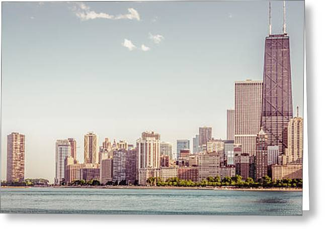 Chicago Prints Greeting Cards - Chicago Skyline Panorama Retro Photo Greeting Card by Paul Velgos