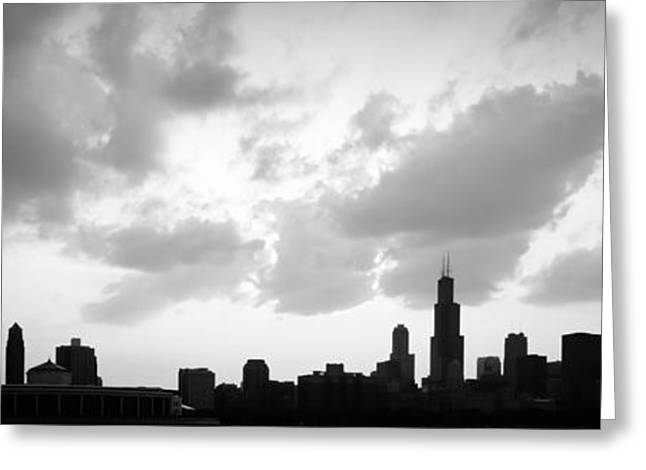 Backlit Greeting Cards - Chicago Skyline Panorama Silhouette Photo Greeting Card by Paul Velgos
