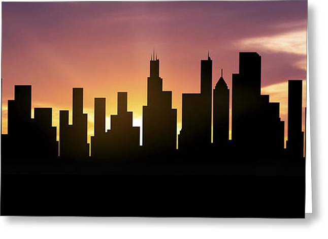 Chicago Mixed Media Greeting Cards - Chicago Skyline Panorama Sunset Greeting Card by Aged Pixel
