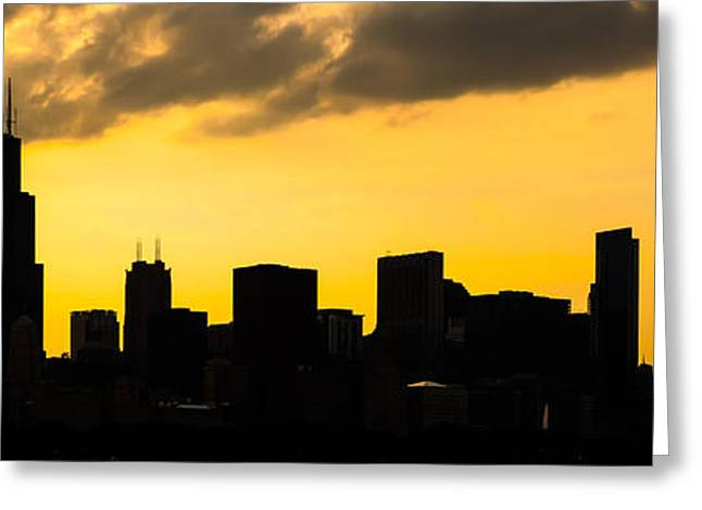 Backlit Greeting Cards - Chicago Skyline Panorama Sunset Photo Greeting Card by Paul Velgos
