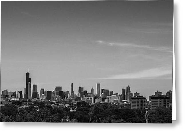 Basketballs Greeting Cards - Chicago Skyline Panoramic Black and White Greeting Card by David Haskett