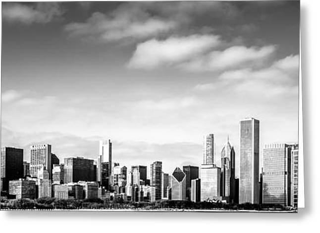 Midwest Scenes Greeting Cards - Chicago Skyline Panoramic Black and White Picture Greeting Card by Paul Velgos