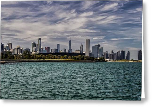 Hyatt Hotel Greeting Cards - Chicago Skyline panoramic crop Greeting Card by Sven Brogren