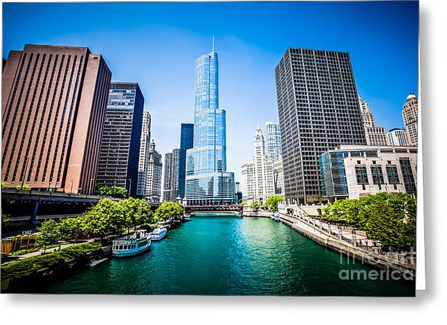 Architecture Greeting Cards - Chicago Skyline Photo with Trump Tower Greeting Card by Paul Velgos