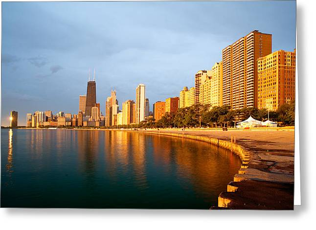 City Lights Greeting Cards - Chicago Skyline Greeting Card by Sebastian Musial