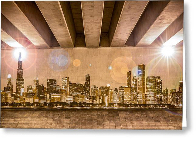 Industrial Concept Greeting Cards - Chicago Skyline Greeting Card by Semmick Photo