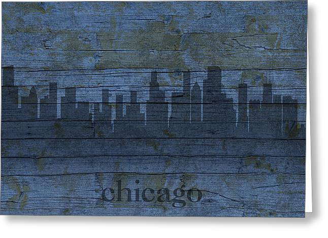 Skylines Mixed Media Greeting Cards - Chicago Skyline Silhouette Distressed on Worn Peeling Wood Greeting Card by Design Turnpike