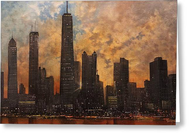 Chicago Skyline Art Greeting Cards - Chicago Skyline Silhouette Greeting Card by Tom Shropshire