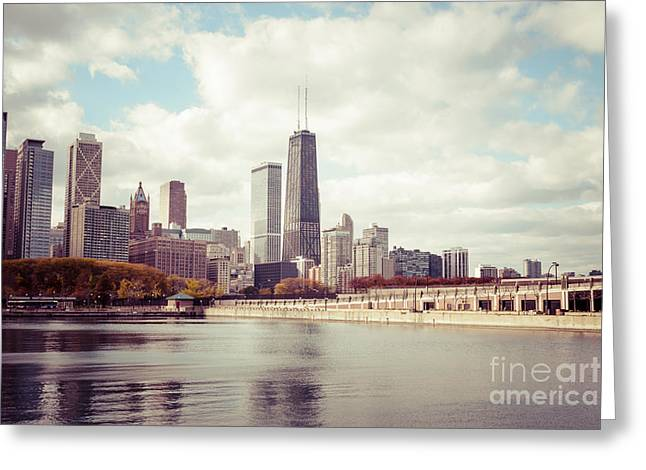 Chicago Prints Greeting Cards - Chicago Skyline Vintage Picture Greeting Card by Paul Velgos