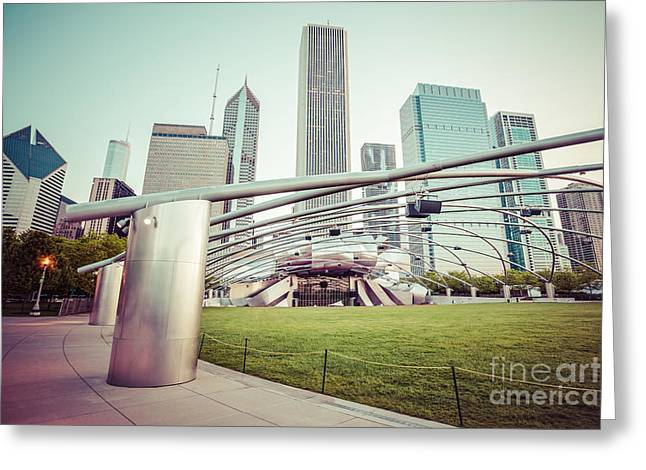 Architecture Greeting Cards - Chicago Skyline with Pritzker Pavilion Vintage Picture Greeting Card by Paul Velgos