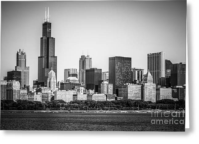 Lake Michigan Greeting Cards - Chicago Skyline with Sears Tower in Black and White Greeting Card by Paul Velgos
