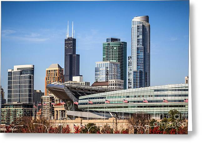 Chicago Flag Greeting Cards - Chicago Skyline with Soldier Field and Sears Tower  Greeting Card by Paul Velgos