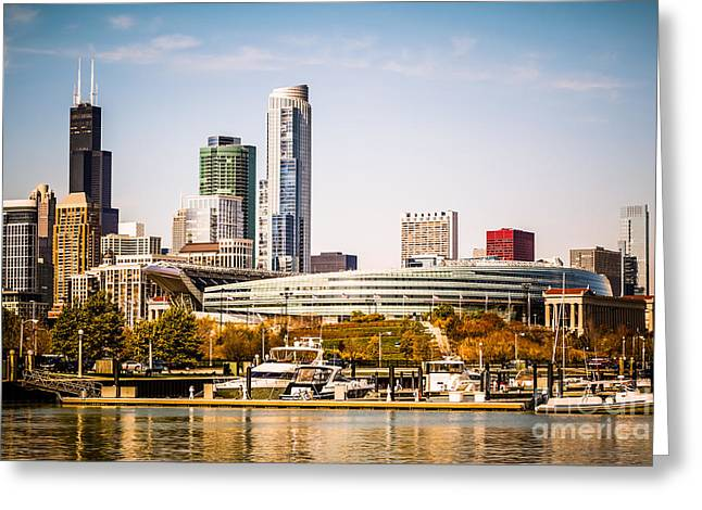 Chicago Skyline With Soldier Field Greeting Card by Paul Velgos