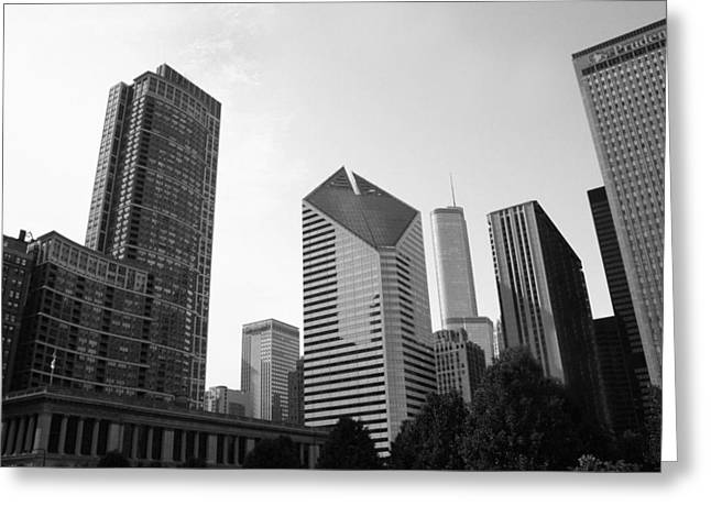 Chicago Black White Greeting Cards - Chicago Skyscrapers Greeting Card by Mike Maher