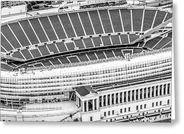 High Resolution Prints Greeting Cards - Chicago Soldier Field Aerial Panorama Photo Greeting Card by Paul Velgos