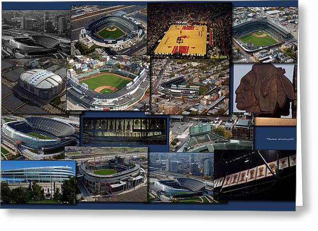 Chicago Sports Collage Greeting Card by Thomas Woolworth
