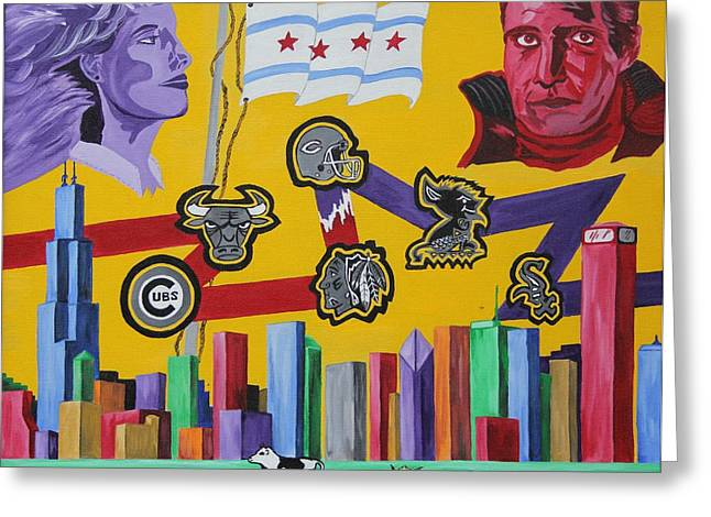 Hockey Paintings Greeting Cards - Chicago Sports Skyline Greeting Card by Mike Nahorniak