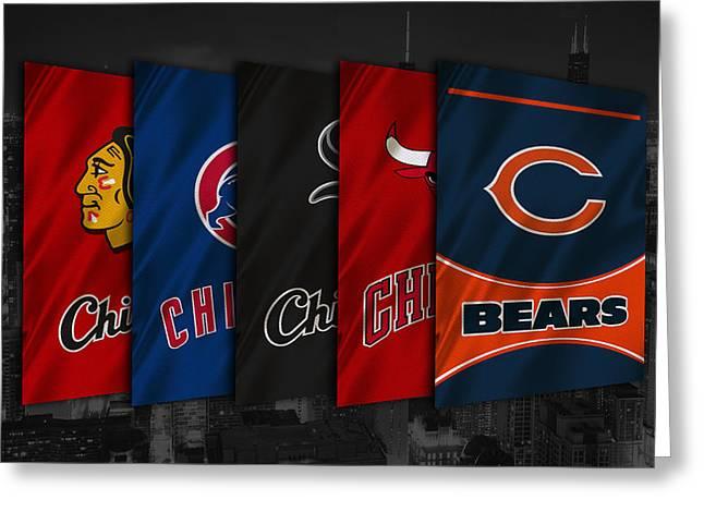 Chicago Sports Teams Greeting Card by Joe Hamilton