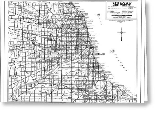 Recently Sold -  - Old Street Greeting Cards - Chicago Street Map white Greeting Card by WaterColorMaps Chris and Mary Ann